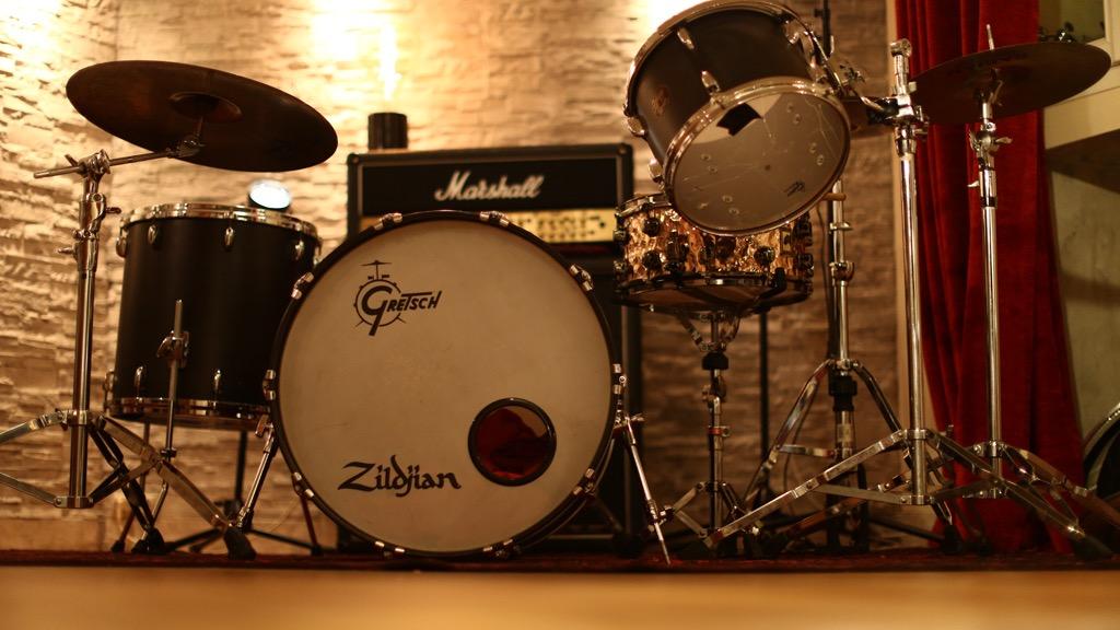 La batterie gretsch au studio Montmartre Recording